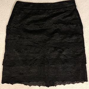 Larry Levine Stretch Lacy Layer Skirt Sz 10